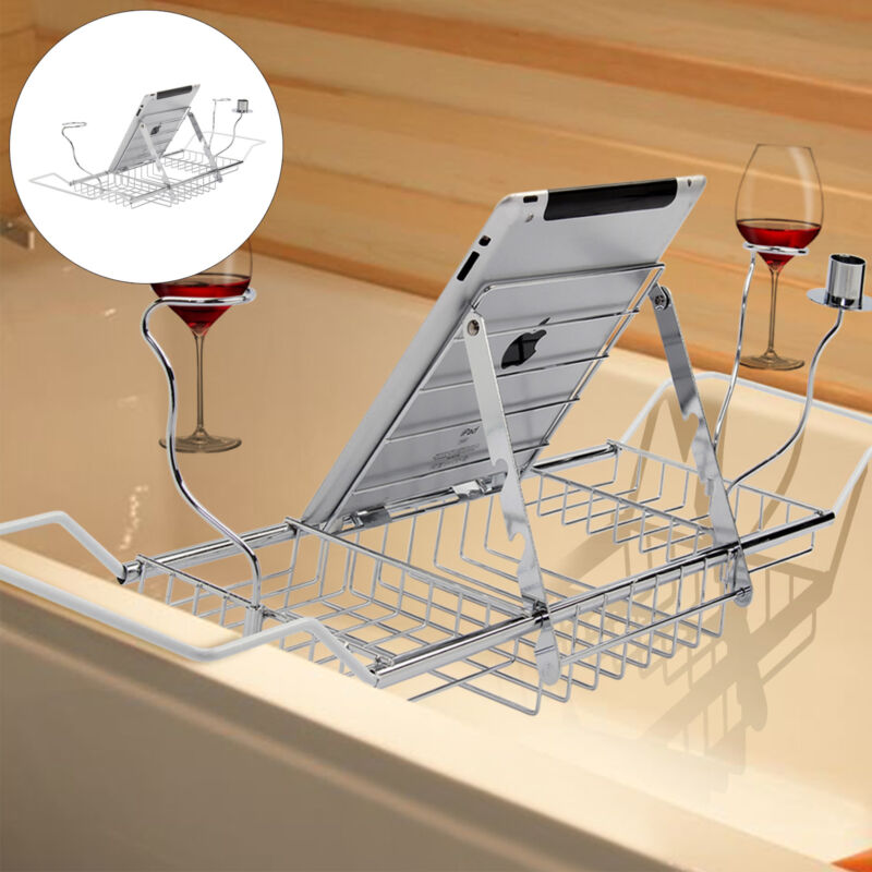 Adjustable Over Bath Tub Tray Organiser Storage Shelf Caddy Ipad ...