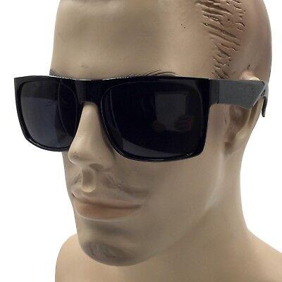 XL MENS Large Black Wide Frame Oversize Gangster Rectangular Shade Sunglasses (Large Sunglasses)