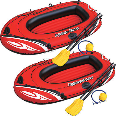 2  Hydro Force Inflatable Boat Two Person Explorer Raft Set W Paddles And Pump