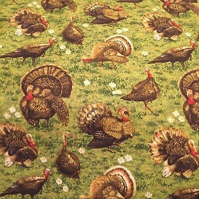 Fall Turkey - Fall Golden Harvest Turkey 100% cotton fabric by the yard Thanksgiving Turkey