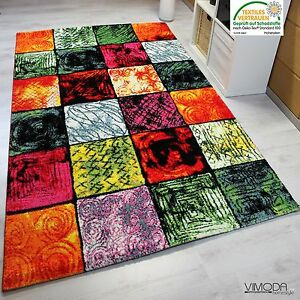 tapis design moderne poils ras multicolore carreaux rouge vert noir neuf ebay. Black Bedroom Furniture Sets. Home Design Ideas