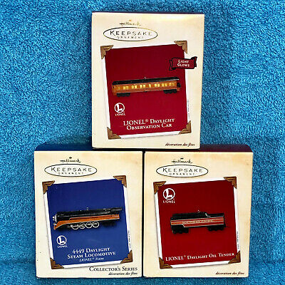 2003 Hallmark Keepsake Christmas Ornaments Set of 3 Lionel Daylight Train NIB