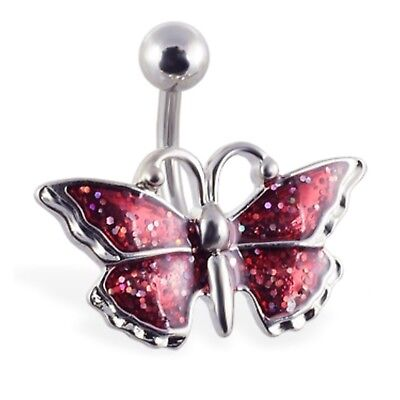 RED GLITTER BUTTERFLY BELLY RING ()