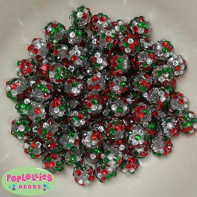 12mm Christmas Confetti Style Resin Rhinestone Bubblegum Beads Lot 40 (Christmas Beads)