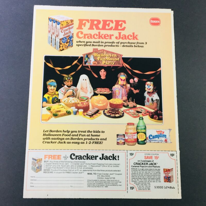 VTG Retro 1984 Halloween Candy Cracker Jack Caramel Popcorn & Peanuts Ad Coupon