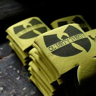 30 Birthday Party Ideas (5 pack: OL DIRTY THIRTY Wu Tang beer can koozies 30th birthday party favor)