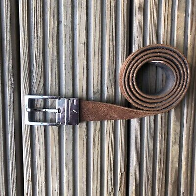 "Men's Reiss Reversible Suede Belt Size 27-35"" inch Tan Brown Taupe Grey Leather"