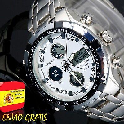 28126e15b94a Reloj Hombre Digital Deportivo Militar de Caballero Relojes Hombres Esfera  Blanc