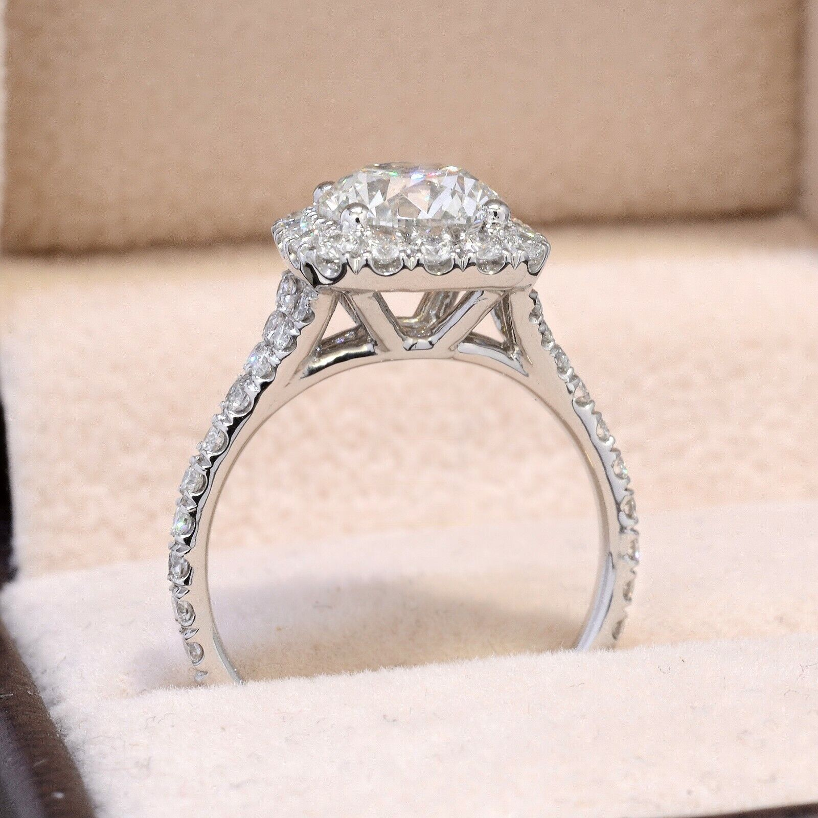 1.50CT Natural Round Cut Halo Baby Split Shank Pave Diamond Engagement Ring  GIA 3