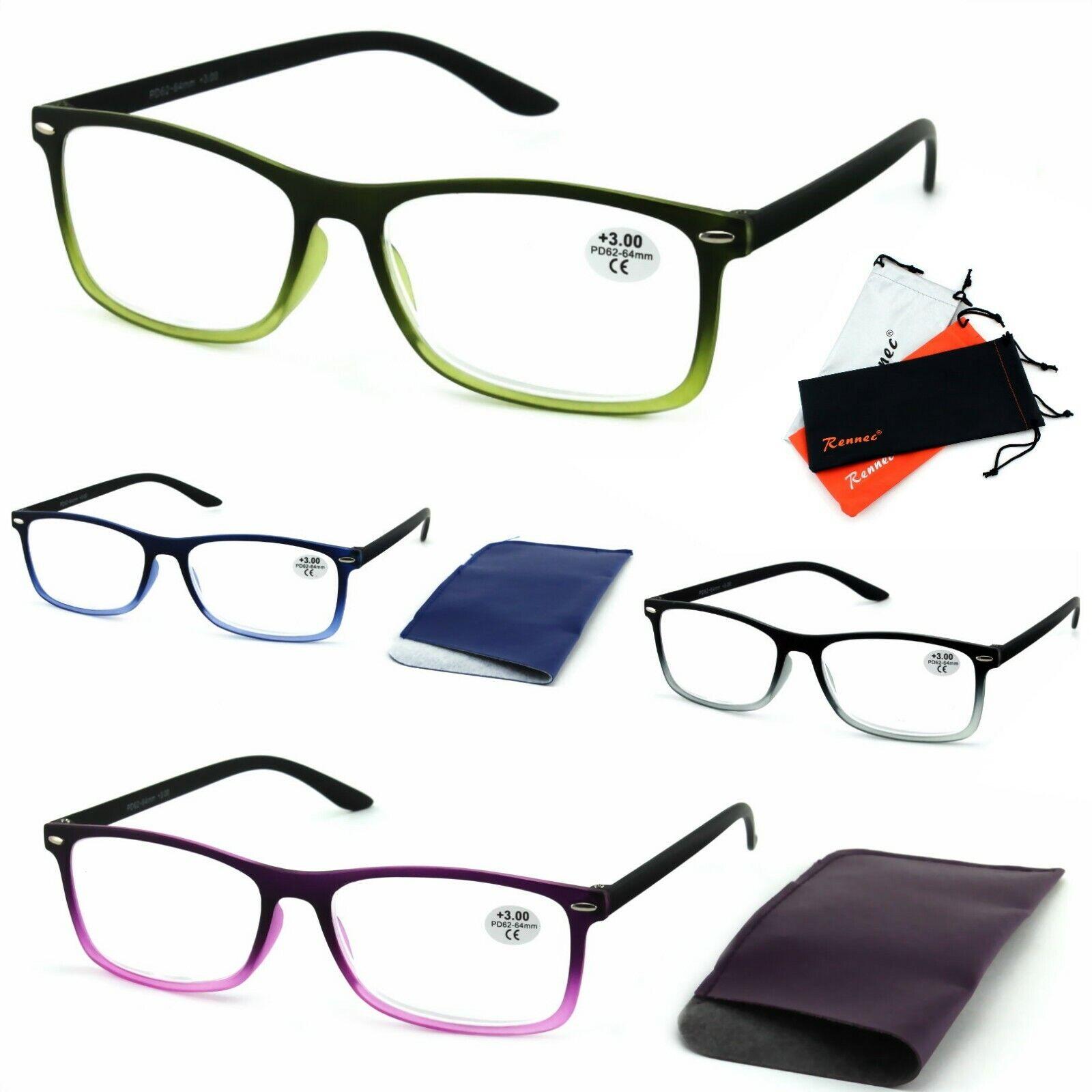 Lesebrille Modern Rechteckig Zweifarbig Transparent Unisex Rennec Brillenbeutel