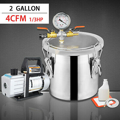 4 Cfm Single Stage Pump And 2 Gallon Vacuum Chamber Wdegassing Silicone Kit