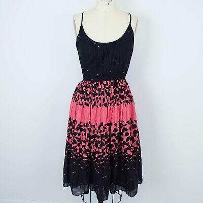 Twinkle by Wenlan Anthropologie Dress Sz 4 Fit Flare Black Pink Print F16 (Twinkle Dress)