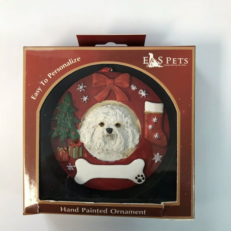 Bichon Frise Ornament Wreath Hand Painted and Easily Personalized