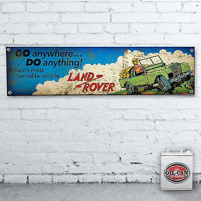 VINTAGE EFFECT LAND ROVER  Banner  –  heavy duty for workshop, garage, man cave