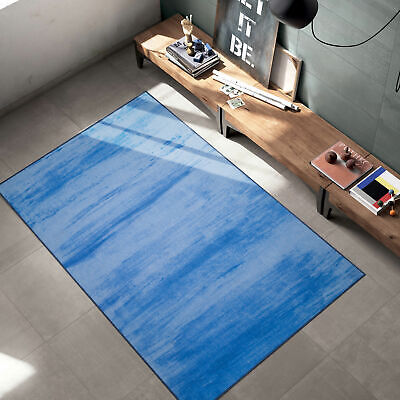 Blue Vintage Solid Cloud Modern Area Rug with Non-Slip Rubbe