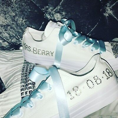 Personalised Crystal Mono,Converse Bling Wedding/Bridesmaid/PromShoes 👰🏼💎👰🏽 - Converse Personalised