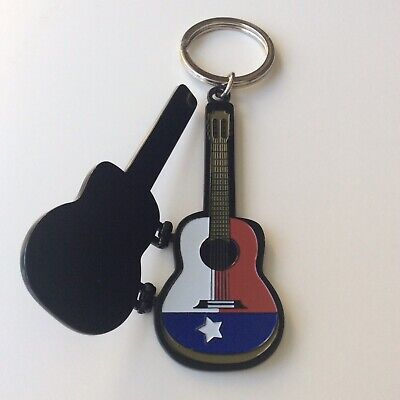 Vintage Southfork Ranch Keychain TX Black Guitar Case Dallas Texas Key Ring JR