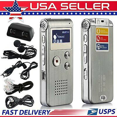 8Gb Digital Sound Recorder Audio Voice Mp3 Player 650 Hr Rechargeable Dictaphone