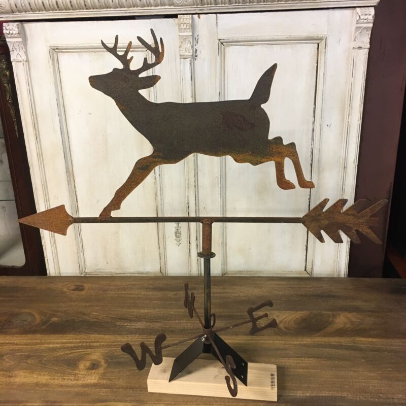 Wrought Iron Jumping Deer Weathervane Directional Rustic Farmhouse Arrow