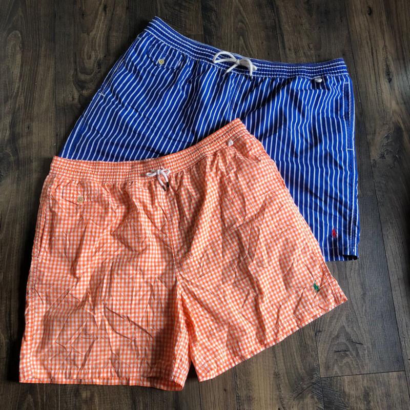 POLO Ralph Lauren Mens Swim Trunks Gingham Stripe Orange Blue Set 2XB