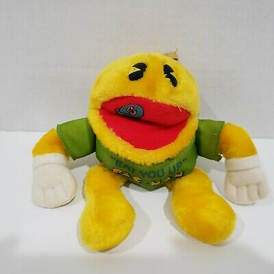 PAC MAN Vintage Eat You Up T-Shirt Plush Plushie Stuffed Animal Bean Body