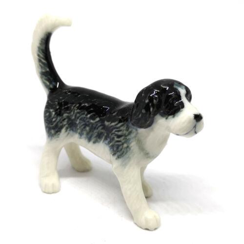 Otterhound Dog Figurines Collectible Ceramic Black Animal Miniature Hand Painted