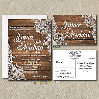 100 Personalized Country Rustic Lace Wedding Invitations & Post Card RSVP](Postcard Invitations)