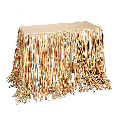 Natural Raffia Tropical Party Table Skirt](Natural Raffia Table Skirt)