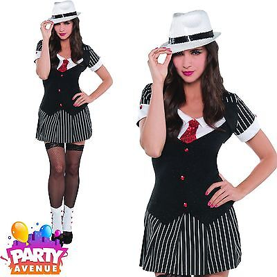 Ladies Gangster Moll Costume 1920s Mobster Fancy Dress Hen Pinstripe Suit Outfit