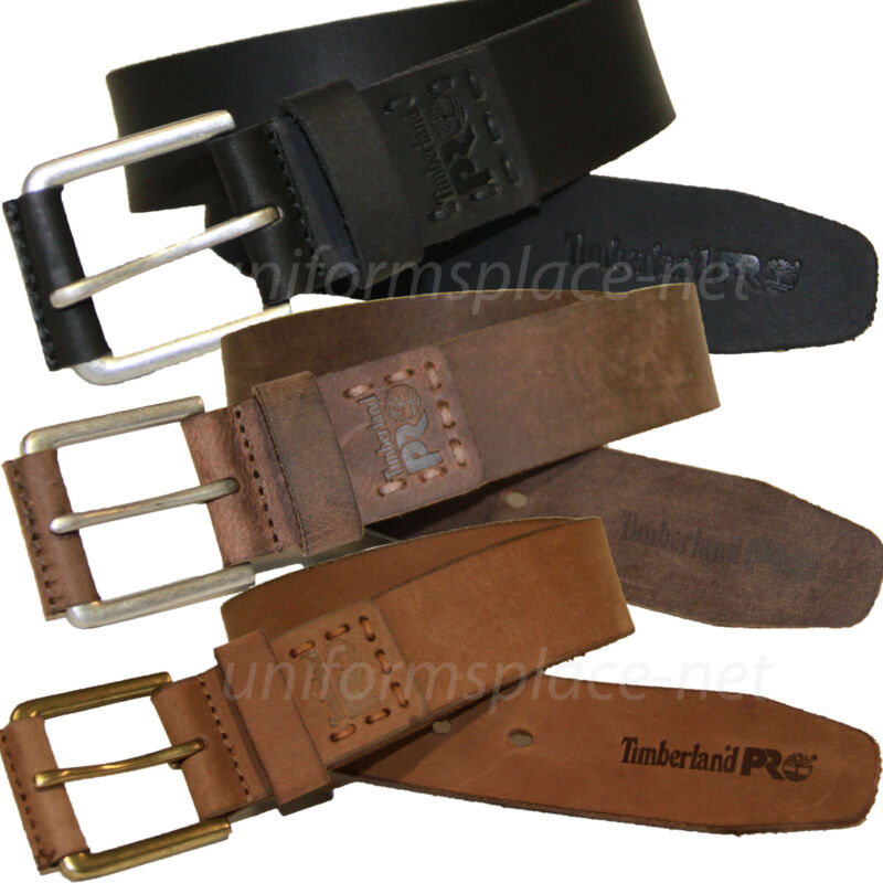Timberland Pro Leather Belt Mens Logo Stitch Pull-up 40mm Leather Belts Bp0006