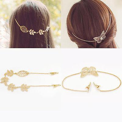 Fashion Women Girl Gold Hollow Butterfly Leaf Hair Chain Headpiece Headband Clip - Butterfly Headpiece