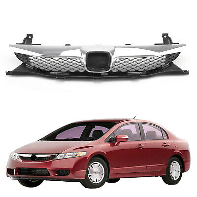 Front Top ABS Grille Grill Replacement For 2009-2011 Honda Civic Sedan 4 Door US ()