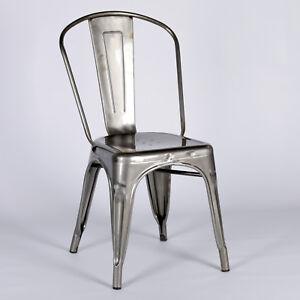 TOLIX INSPIRED METAL DINING CHAIR STEEL INDUSTRIAL GARDEN STACKABLE SEAT  SECONDS