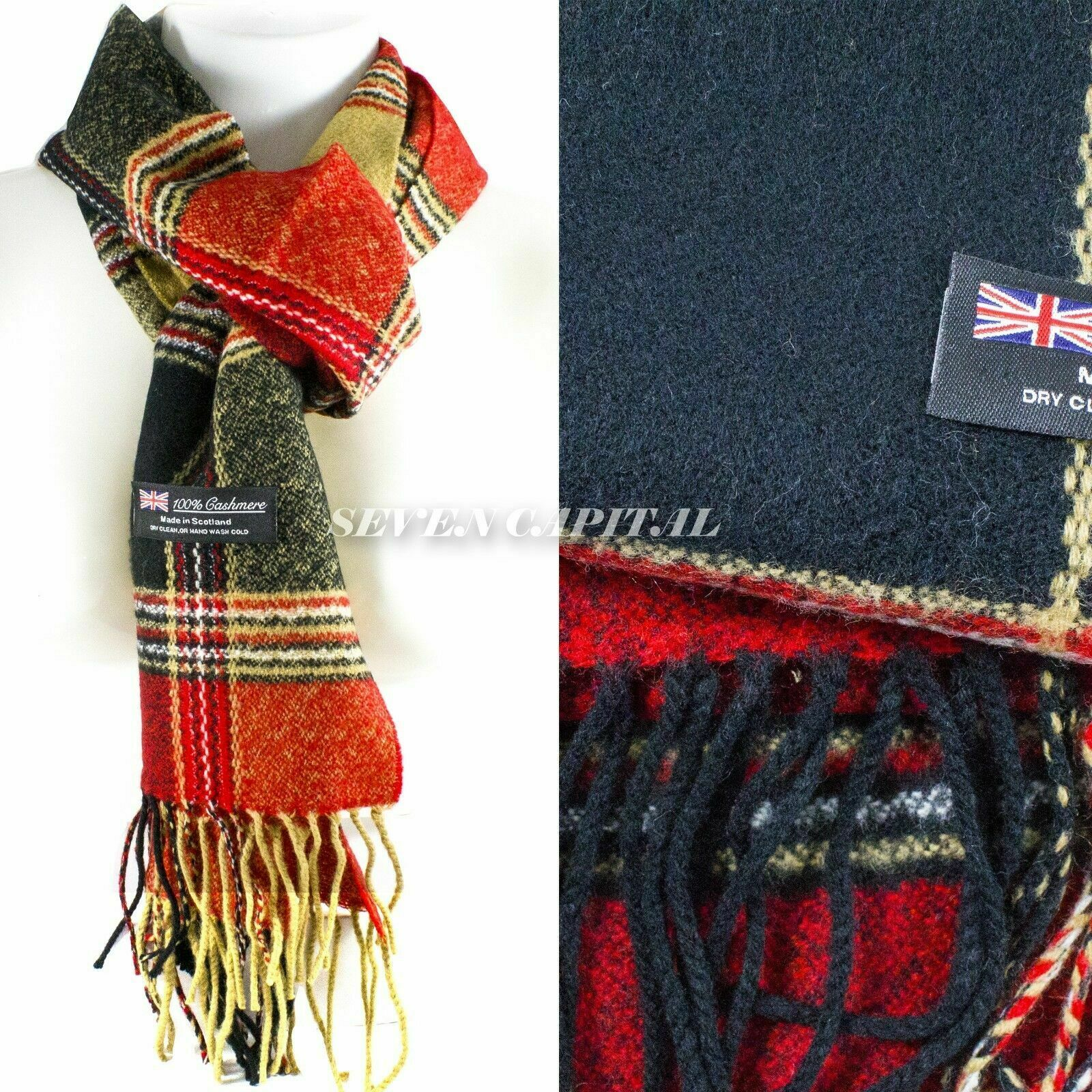 Mens Womens Winter Warm SCOTLAND Made 100% CASHMERE Scarf Scarves Plaid Wool 52. Multiple: Black/Red