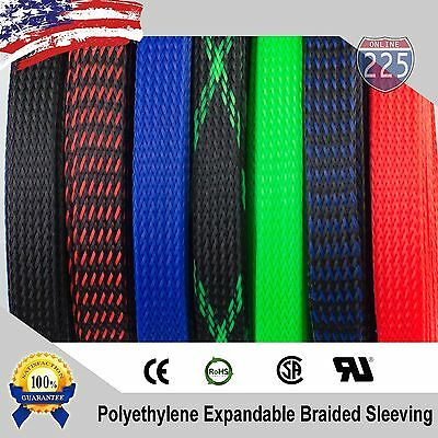 - ALL SIZES & COLORS 5 FT - 100 FT. Expandable Cable Sleeving Braided Tubing LOT