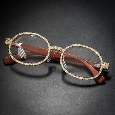 Round Vintage 14K Gold Clear Lens Wood Frame Hip Hop Ice Out Glasses For Men (Vintage Round Spectacles)