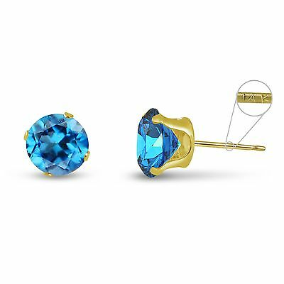 Blue Topaz 14k Gold Earrings - Solid 14K Yellow Gold Round Genuine Swiss Blue Topaz December Stud Earrings
