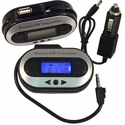 Wireless Radio FM Stereo Transmitter LCD W/ Car Charger For iPhone iPod MP3 NEW