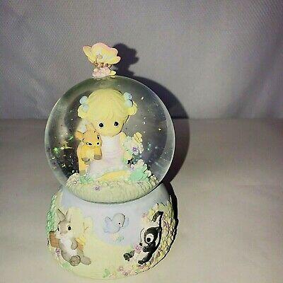 Walt Disney Precious Moments Musical Snow Globe The Spring Bambi Thumper Flower