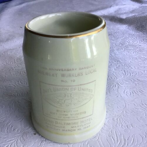 Vintage Mug, Brewery Workers Local No. 10, Baltimore 1940
