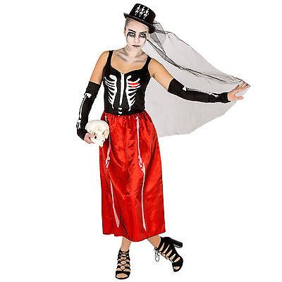 Sexy Skeleton Kostüm Kleid Karneval Fasching Halloween Horror Skelettkleid  ()