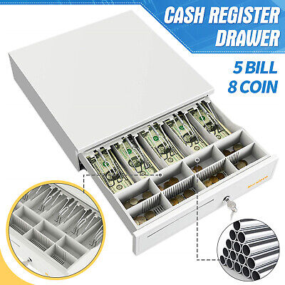 5 Bill 8 Coin Cash Register Drawer Money Box 16 With Tray Lock Storage White