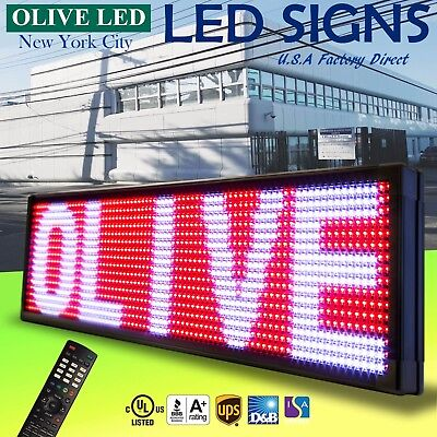 "OLIVE LED Sign 3Color RWP 15""x40"" IR Programmable Scroll. Message Display EMC"