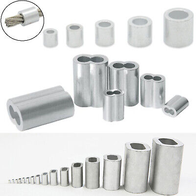 Aluminum Ferrules Crimping Sleeves Wire Rope Cable Clamp Round Oval Hole Clips