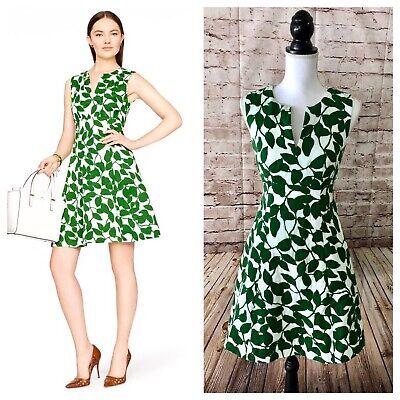 KATE SPADE Green & White Garden Leaves Dress, size 2