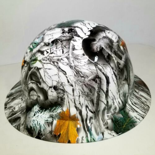 NEW FULL BRIM Hard Hat custom hydro dipped SNOW BUCK CAMO DEER HUNTER NEW SICK 1