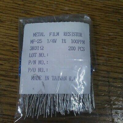 New 200 Pack Metal Film Resistor Mf-25 14w 100 Ppm 3k01 Ohms