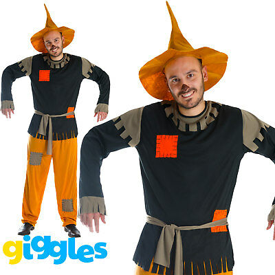 Mens Scarecrow Costume & Hat Fancy Dress Fairytale World Book Day Week - Mens Scarecrow Costume