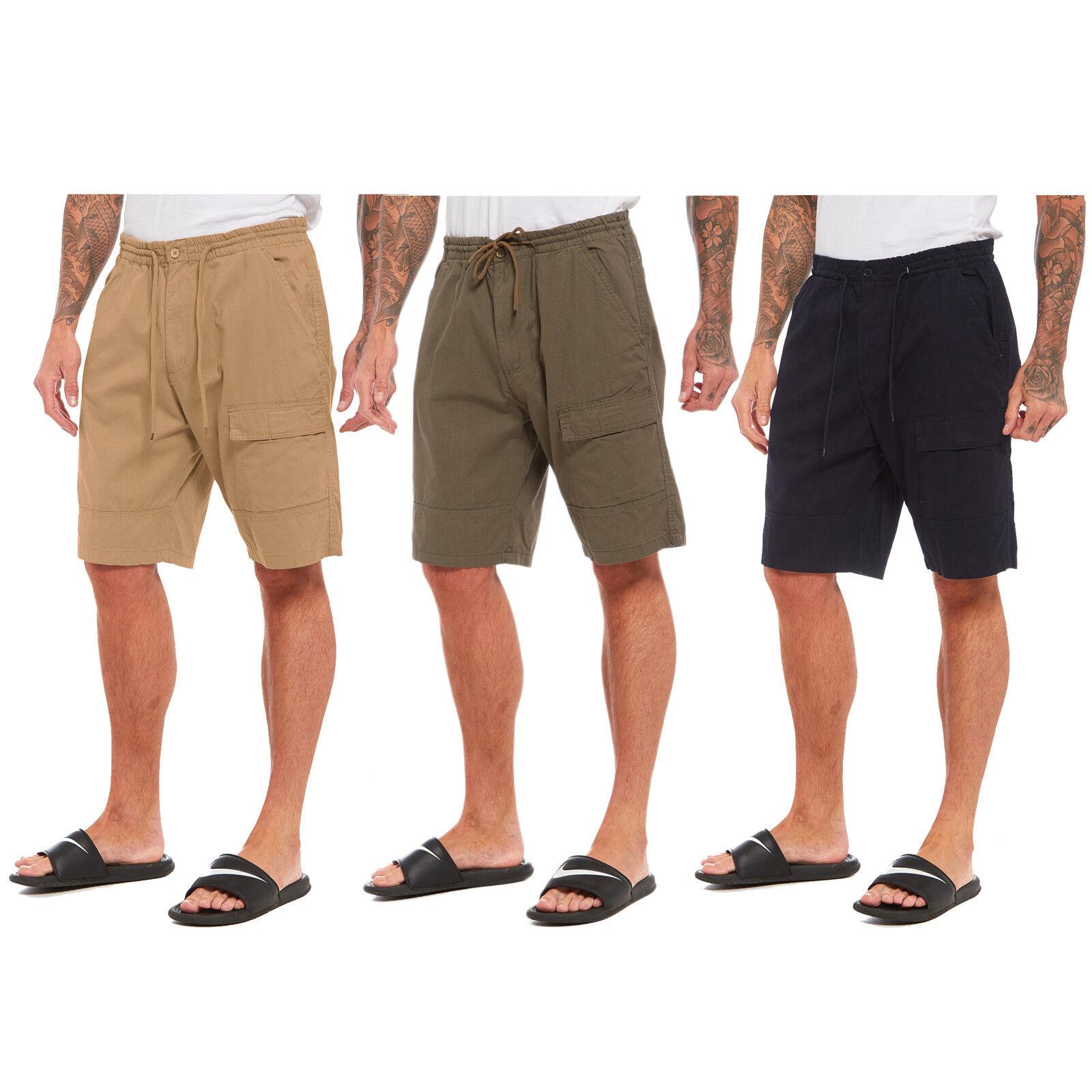 NEW MENS PLAIN SHORTS CARGO COMBAT CASUAL SUMMER BEACH POLY COTTON POCKETS PANTS