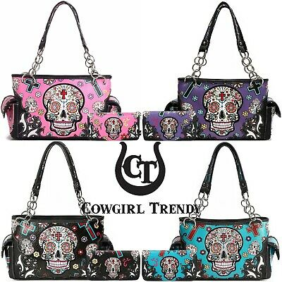 Sugar Skull Day of the Dead Purse Women Handbag Fashion Shoulder Bag / Wallet
